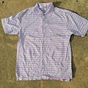 Peter Millar Mens Golf Polo Shirt Stripes Sz Large